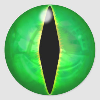 Green Dragon Eye Classic Round Sticker