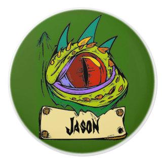 Green Dragon Eye Kids Name Dresser Knob Pull Ceramic Knob
