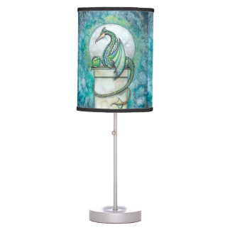 Green Dragon Fantasy Art Table Lamp