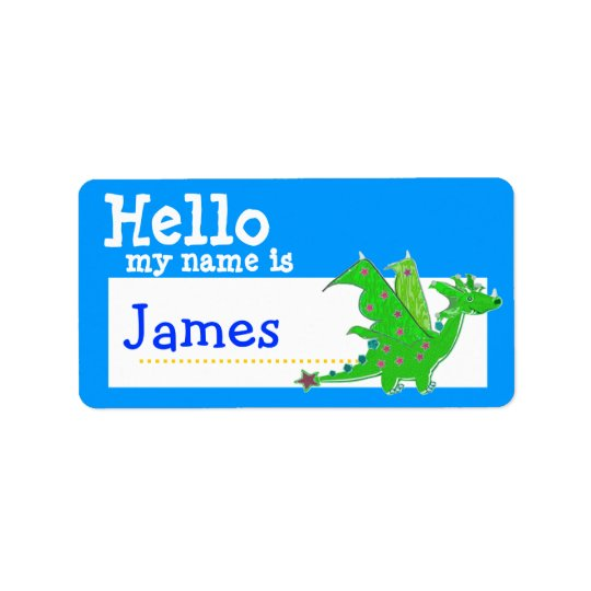 Green Dragon Hello My Name is Badge Blue
