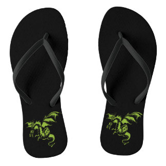 Green Dragon on Black Flip Flops