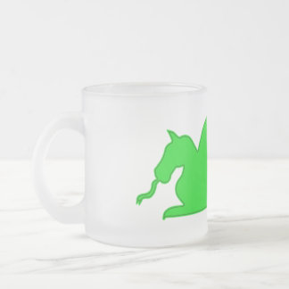 Green Dragon Silhouette Frosted Glass Coffee Mug