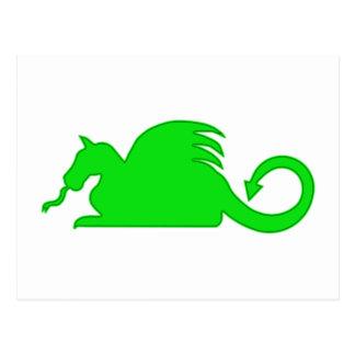 Green Dragon Silhouette Postcard