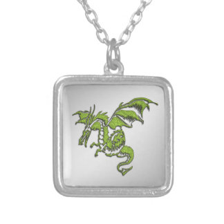 Green Dragon Silver Plated Necklace