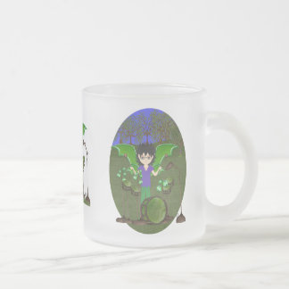 Green Dragon Winged Drummer Boy Faerie Frosted Glass Mug