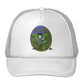 Green Dragon Winged Drummer Boy Faerie Trucker Hats