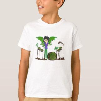 Green Dragon Winged Drummer Boy Faerie T-Shirt