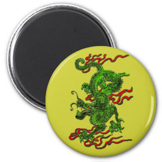 Green Dragon with Red Ribbons Apparel & Gifts 2 Inch Round Magnet