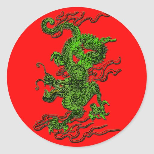 Green Dragon with Red Ribbons Apparel & Gifts Round Sticker