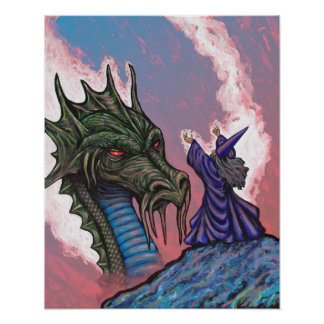 Green Dragon Wizard Poster