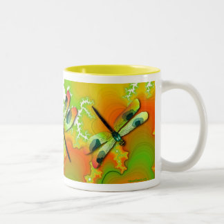 Green Dragonflies And Fractals Mug