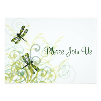 Green Dragonflies  Wedding Invitation