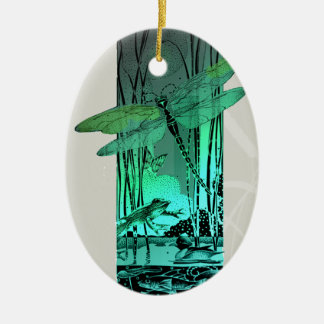 Green Dragonfly and Frog in the Pond Ceramic Ornament