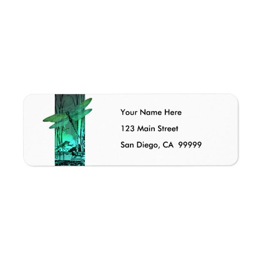 Green Dragonfly and Frog in the Pond Return Address Label