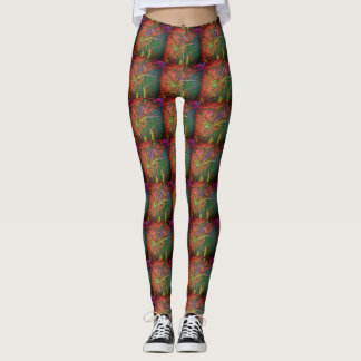 Green Dragonfly Patterned Leggings