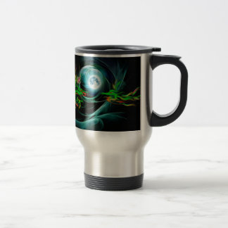 Green dragons play with the Moon Travel Mug