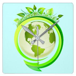 GREEN EARTH (ECO DESIGN) SQUARE WALL CLOCK