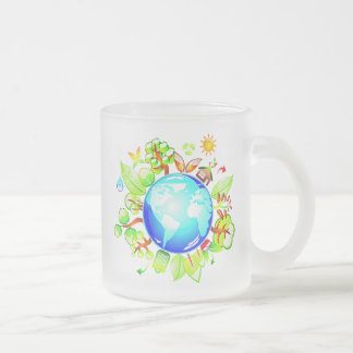 Green Earth Eco Friendly for Earth Day 10 Oz Frosted Glass Coffee Mug