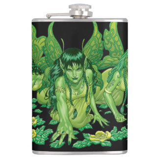 Green Earth Fairy Illustration by Al Rio Hip Flask