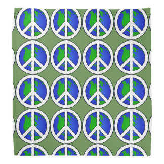Green Earth Global Peace Sign  Bandanna