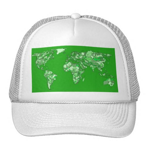Green earth map mesh hats