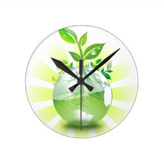 Green Earth Round Clock