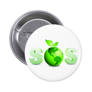 Green Earth SOS Earth Day Message 2 Inch Round Button