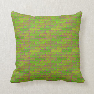 Green Earthy Brick Pattern Cotton Pillow