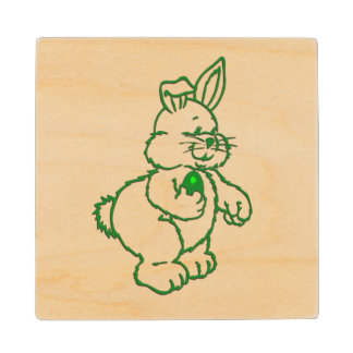 Green Easter Bunny Wood Coaster