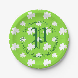Green Eat, Drink and Be Irish St. Patrick's Day Paper Plate