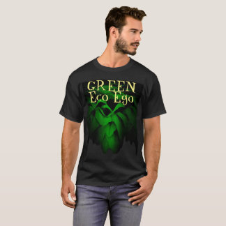 Green Eco Ego Green Rose on Black Background T-Shirt