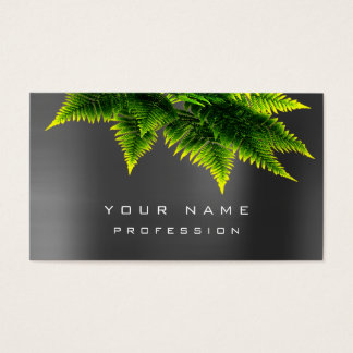 Green Economy Fern Eco Organic Grau Silver Minimal Business Card