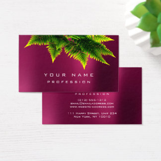 Green Economy Fern Organic Raspberry Pink Rose Business Card