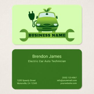 Green Electric Car Icon Auto Repair Technician Business Card