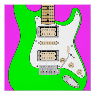 Green Electric Guitar Poster