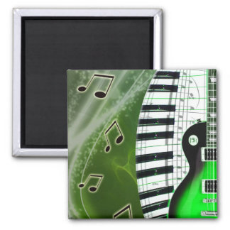 Green electric guitar with keyboard magnet
