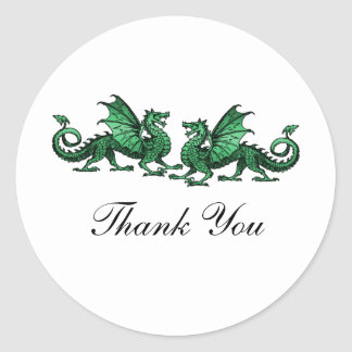 Green Elegant Dragons Thank You Stickers