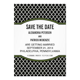 Green Elegant Quatrefoil Save the Date Invite