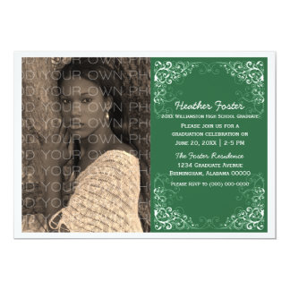 Green Elegant Swirls Photo Graduation Invite