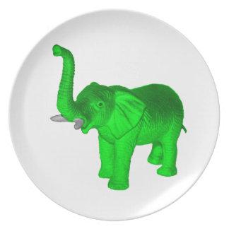 Green Elephant Dinner Plate