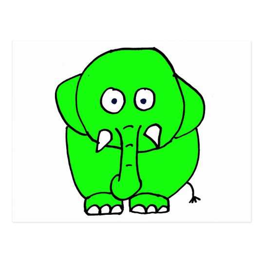 Green elephant postcard