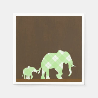 Green Elephants Brown Trendy Modern Baby Shower Paper Napkins