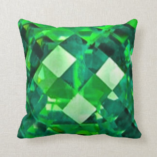 Green Emerald Birthstone Gem Throw Pillow