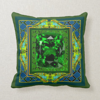 GREEN EMERALD GEM & BUTTERFLY ART THROW PILLOW
