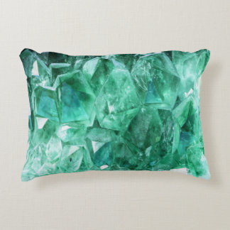 Green emerald gem stone mineral accent pillow