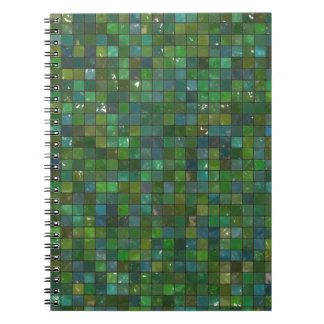 Green Emerald Shiny Glass Tiles Texture Background Notebooks