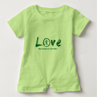 Green enso zen circle, Japanese symbol for love Baby Romper