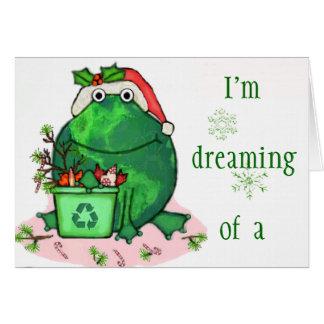 Green Environment Christmas Santa Frog Card