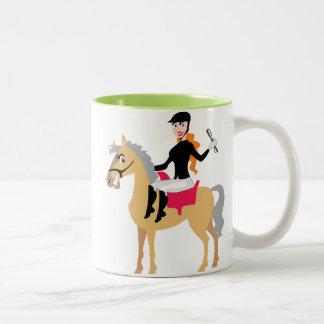 Green Equestrian Girl Two-Tone Coffee Mug