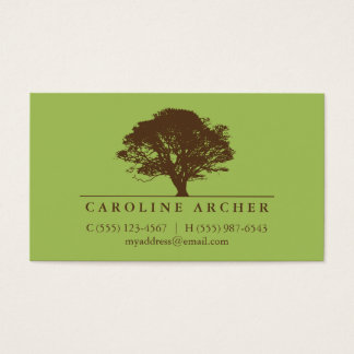 Green eternal oak tree elegant style nature business card